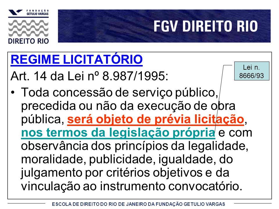 ESCOLA DE DIREITO DO RIO DE JANEIRO DA FUNDAÇÃO GETULIO VARGAS REGIME LICITATÓRIO Art. 14 da Lei nº 8.987/1995: Toda concessão de serviço público, pre