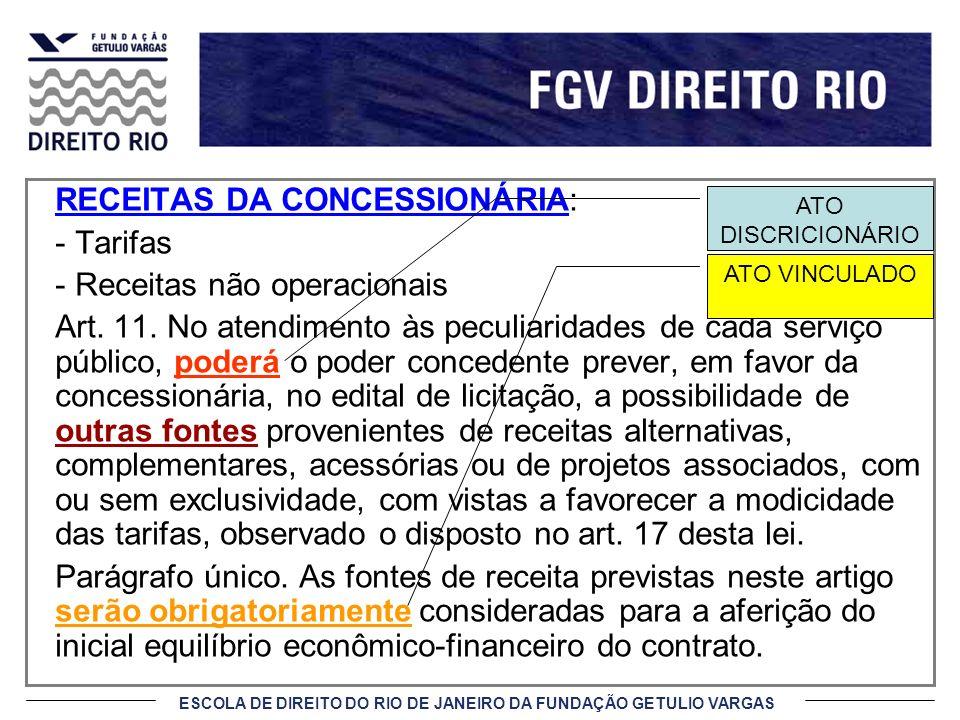 ESCOLA DE DIREITO DO RIO DE JANEIRO DA FUNDAÇÃO GETULIO VARGAS RECEITAS DA CONCESSIONÁRIA: - Tarifas - Receitas não operacionais Art. 11. No atendimen