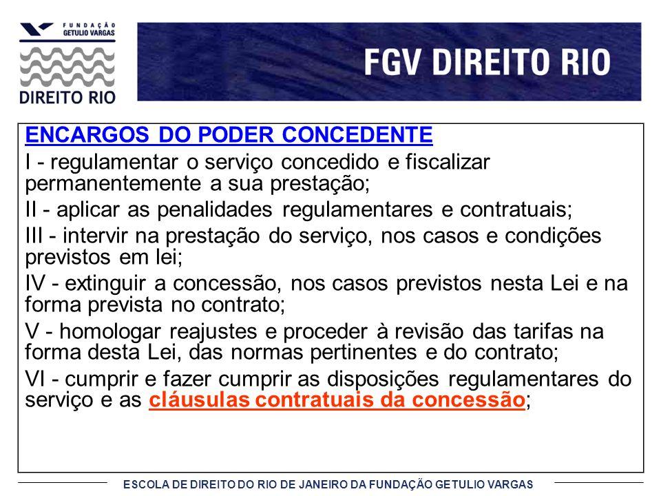 ESCOLA DE DIREITO DO RIO DE JANEIRO DA FUNDAÇÃO GETULIO VARGAS ENCARGOS DO PODER CONCEDENTE I - regulamentar o serviço concedido e fiscalizar permanen