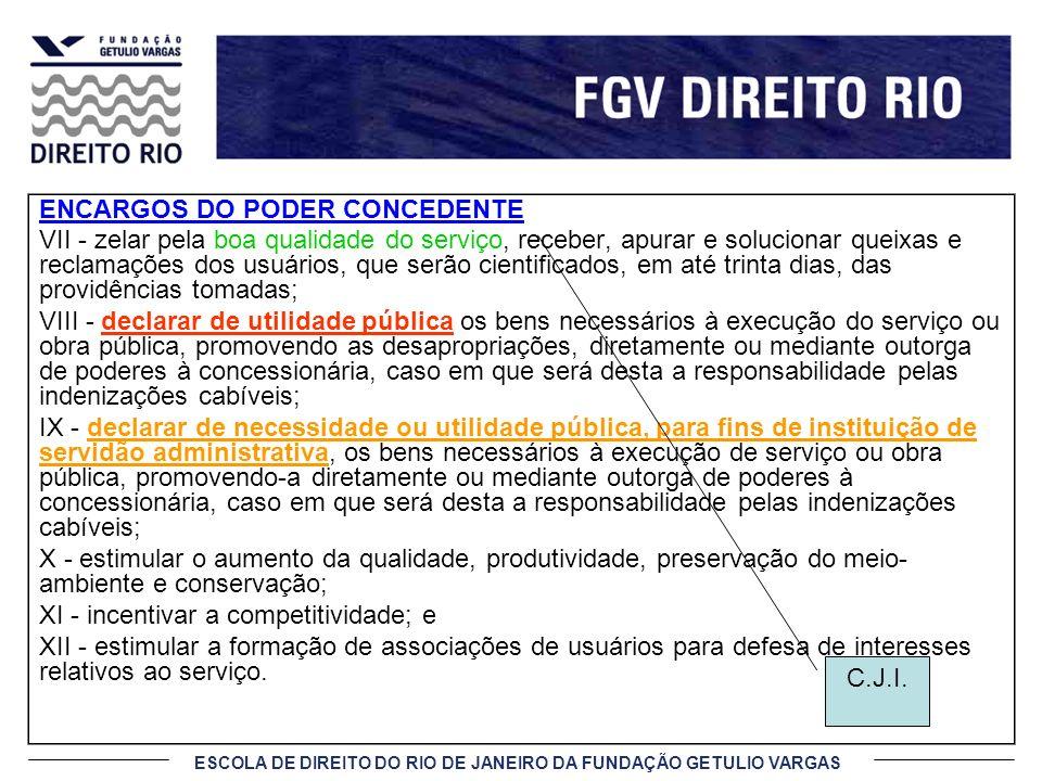 ESCOLA DE DIREITO DO RIO DE JANEIRO DA FUNDAÇÃO GETULIO VARGAS ENCARGOS DO PODER CONCEDENTE VII - zelar pela boa qualidade do serviço, receber, apurar