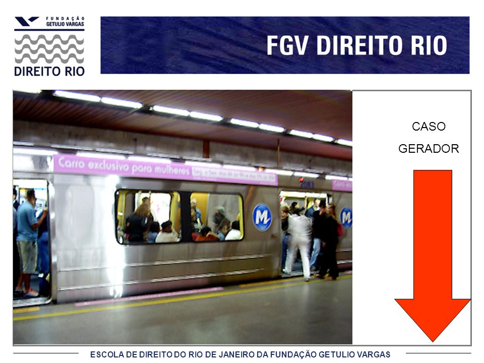 ESCOLA DE DIREITO DO RIO DE JANEIRO DA FUNDAÇÃO GETULIO VARGAS CASO GERADOR PARTES: ERJ e CONCESSIONÁRIA CONTRATO: concessão do transporte metroviário de passageiros FATO: prevê deveres a serem prestados por ambas as partes contratantes.