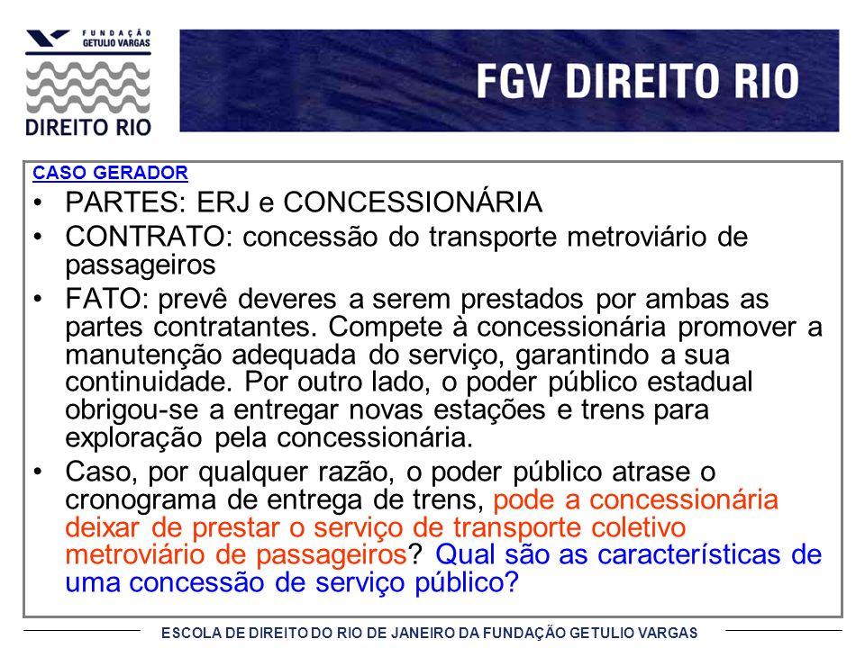 ESCOLA DE DIREITO DO RIO DE JANEIRO DA FUNDAÇÃO GETULIO VARGAS CASO GERADOR PARTES: ERJ e CONCESSIONÁRIA CONTRATO: concessão do transporte metroviário
