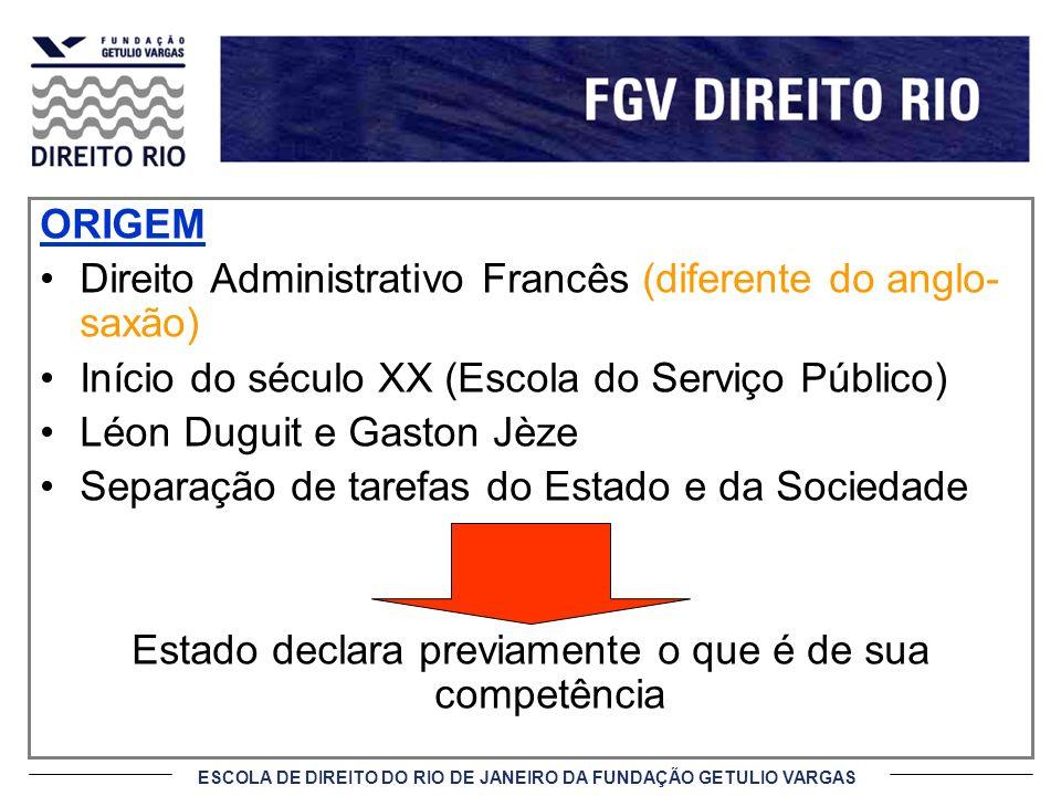 ESCOLA DE DIREITO DO RIO DE JANEIRO DA FUNDAÇÃO GETULIO VARGAS CRISE DA NOÇÃO DE SERVIÇO PÚBLICO Década de 50 (regras de direito privado, forte intervenção, etc.) Declínio da noção tradicional Décadas de 70/80 Rediscussão do tema na Grã Bretanha Processo de privatizações Direito comunitário (UE) Prestação de serviços públicos sob o regime privado (competição)