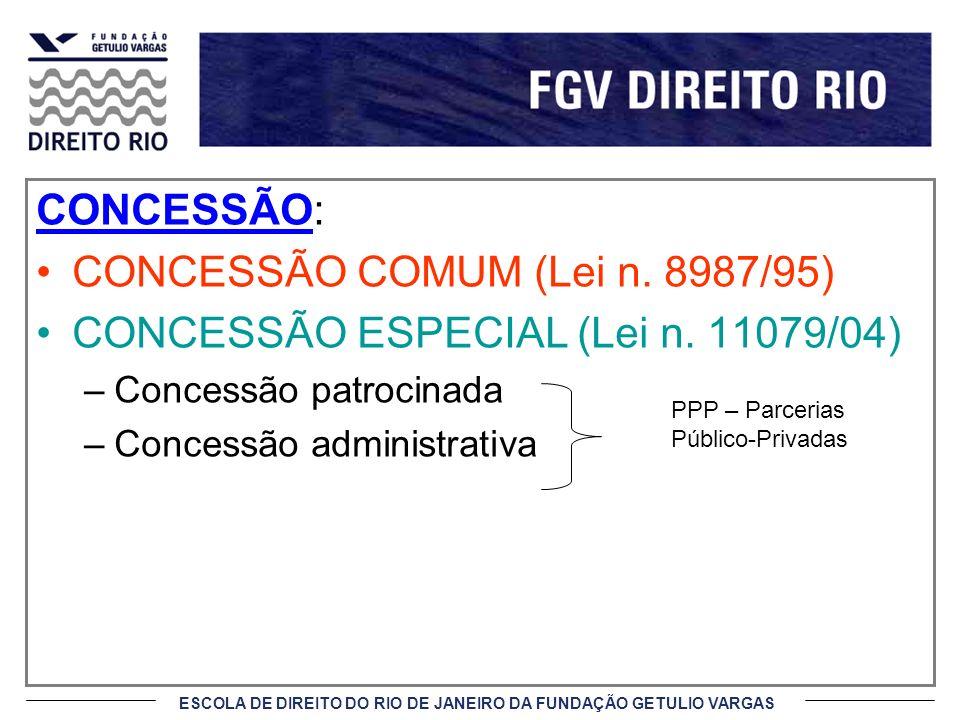 ESCOLA DE DIREITO DO RIO DE JANEIRO DA FUNDAÇÃO GETULIO VARGAS CONCESSÃO: CONCESSÃO COMUM (Lei n. 8987/95) CONCESSÃO ESPECIAL (Lei n. 11079/04) –Conce
