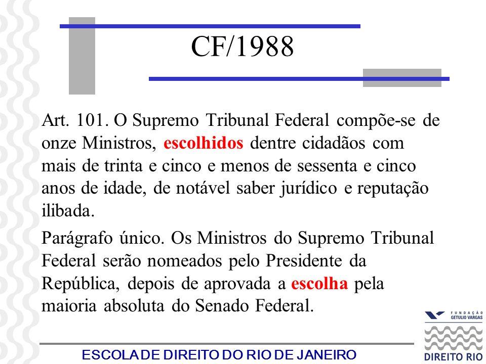 ESCOLA DE DIREITO DO RIO DE JANEIRO CF/1988 Art. 101. O Supremo Tribunal Federal compõe-se de onze Ministros, escolhidos dentre cidadãos com mais de t