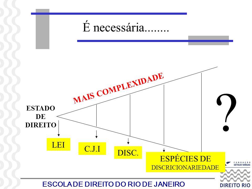 ESCOLA DE DIREITO DO RIO DE JANEIRO É necessária........ ESTADO DE DIREITO LEI C.J.I DISC. ESPÉCIES DE DISCRICIONARIEDADE MAIS COMPLEXIDADE ?
