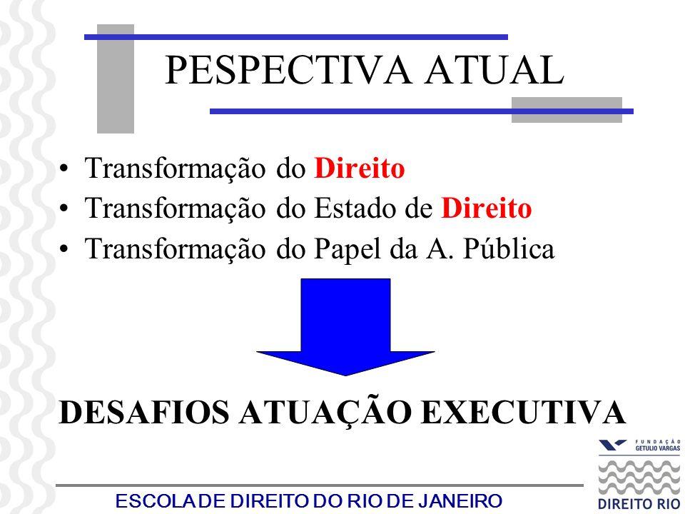 ESCOLA DE DIREITO DO RIO DE JANEIRO PESPECTIVA ATUAL Transformação do Direito Transformação do Estado de Direito Transformação do Papel da A. Pública