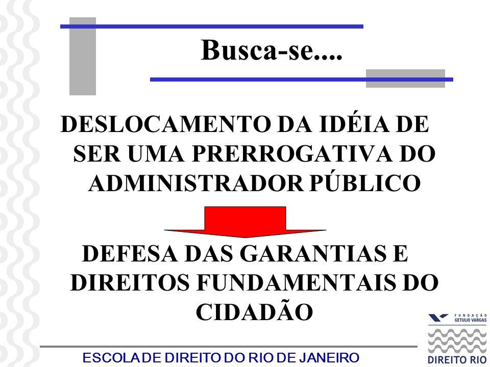 ESCOLA DE DIREITO DO RIO DE JANEIRO DESLOCAMENTO DA IDÉIA DE SER UMA PRERROGATIVA DO ADMINISTRADOR PÚBLICO DEFESA DAS GARANTIAS E DIREITOS FUNDAMENTAI