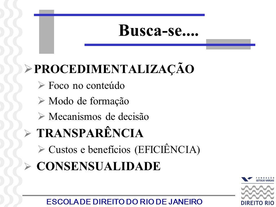 ESCOLA DE DIREITO DO RIO DE JANEIRO PROCEDIMENTALIZAÇÃO Foco no conteúdo Modo de formação Mecanismos de decisão TRANSPARÊNCIA Custos e benefícios (EFI