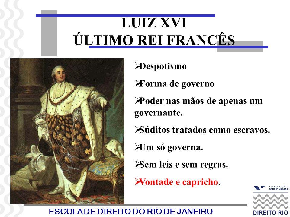 ESCOLA DE DIREITO DO RIO DE JANEIRO LUIZ XVI ÚLTIMO REI FRANCÊS Despotismo Forma de governo Poder nas mãos de apenas um governante. Súditos tratados c