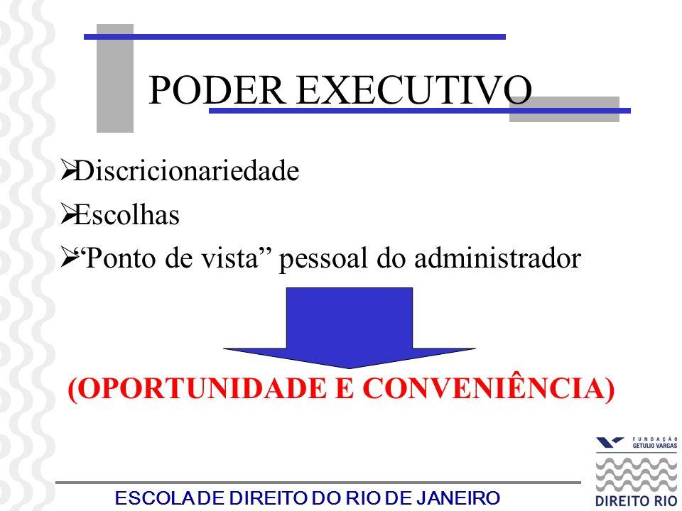 ESCOLA DE DIREITO DO RIO DE JANEIRO PODER EXECUTIVO Discricionariedade Escolhas Ponto de vista pessoal do administrador (OPORTUNIDADE E CONVENIÊNCIA)