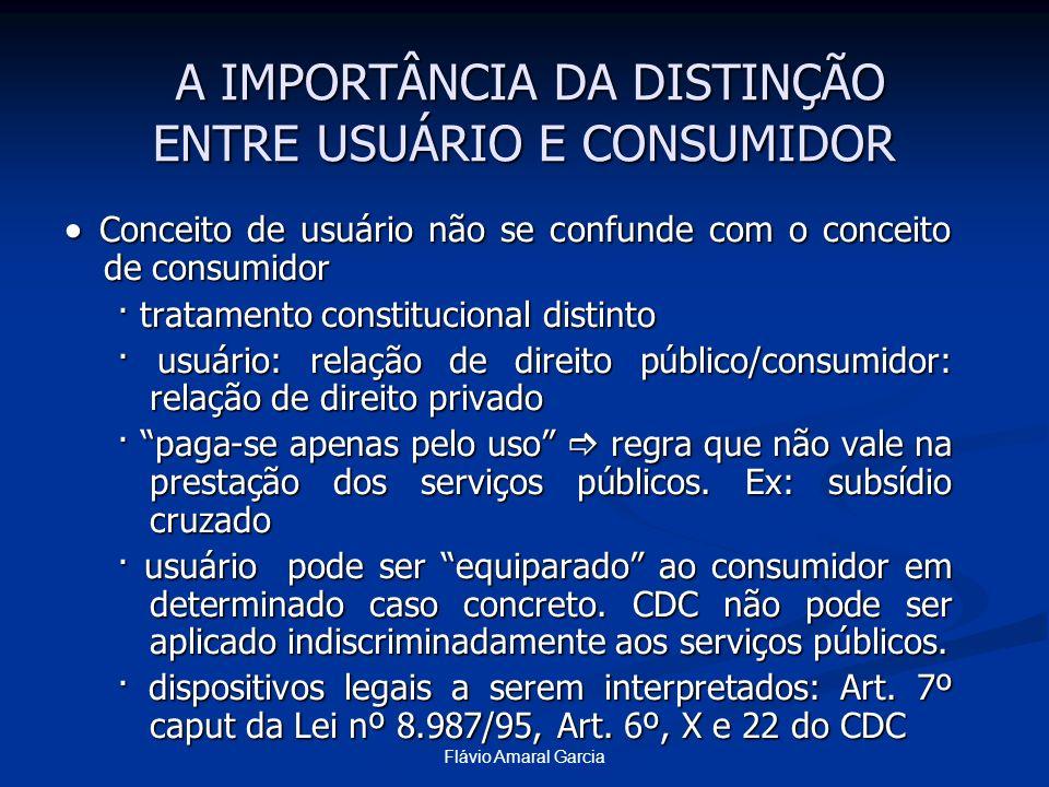 Flávio Amaral Garcia Conceito de usuário não se confunde com o conceito de consumidor Conceito de usuário não se confunde com o conceito de consumidor