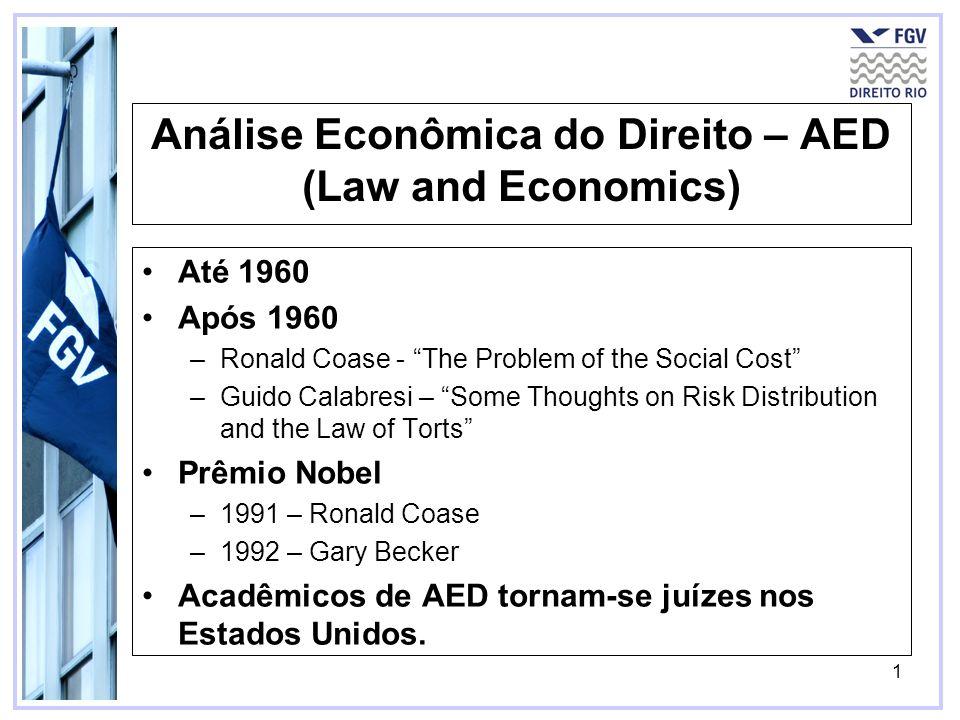 1 Análise Econômica do Direito – AED (Law and Economics) Até 1960 Após 1960 –Ronald Coase - The Problem of the Social Cost –Guido Calabresi – Some Tho