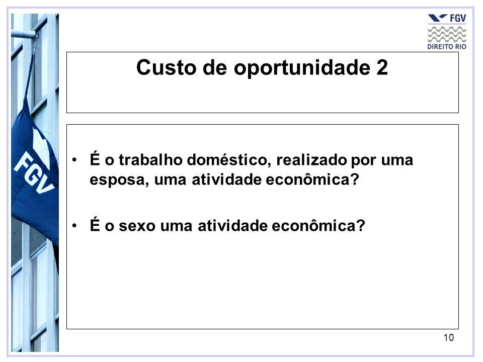 10 Custo de oportunidade 2 É o trabalho doméstico, realizado por uma esposa, uma atividade econômica? É o sexo uma atividade econômica?