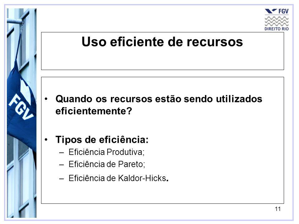 11 Uso eficiente de recursos Quando os recursos estão sendo utilizados eficientemente? Tipos de eficiência: –Eficiência Produtiva; –Eficiência de Pare