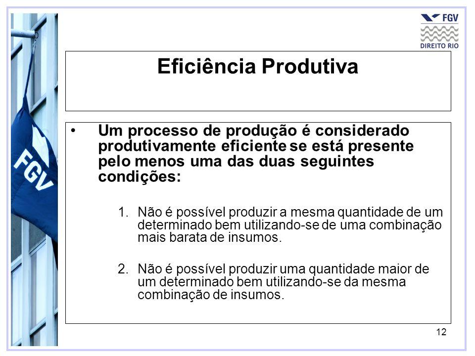 12 Eficiência Produtiva Um processo de produção é considerado produtivamente eficiente se está presente pelo menos uma das duas seguintes condições: 1