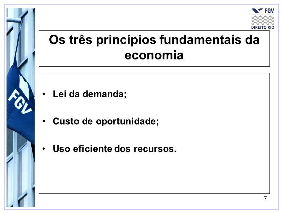 7 Os três princípios fundamentais da economia Lei da demanda; Custo de oportunidade; Uso eficiente dos recursos.