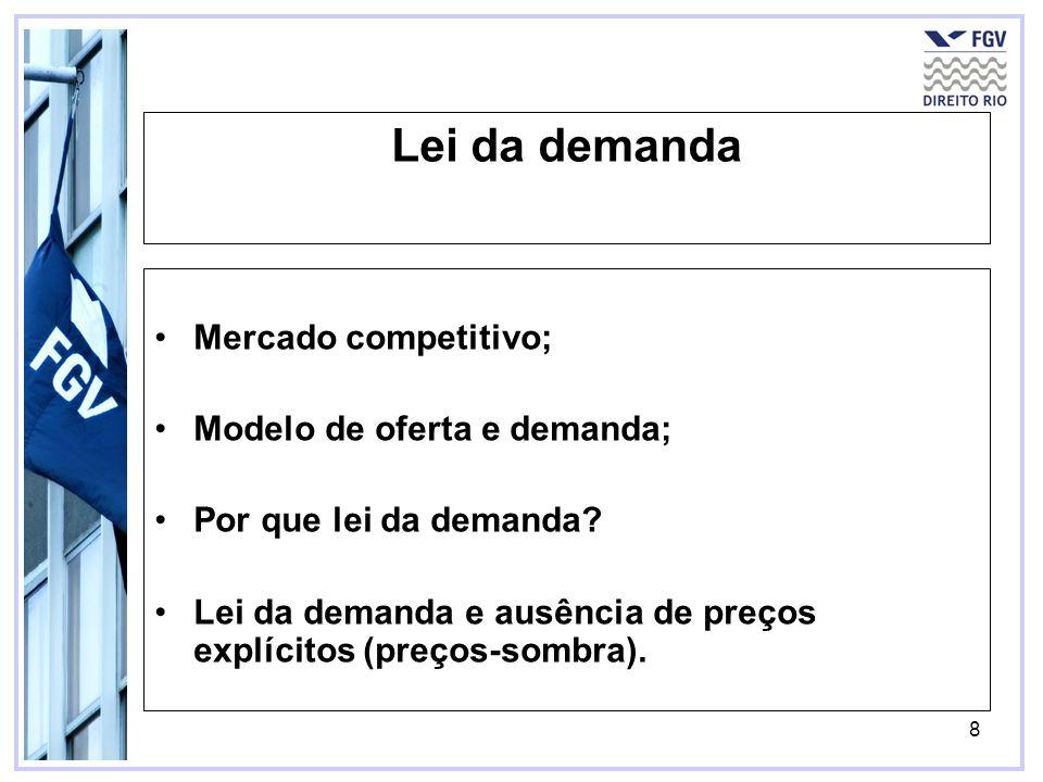 8 Lei da demanda Mercado competitivo; Modelo de oferta e demanda; Por que lei da demanda? Lei da demanda e ausência de preços explícitos (preços-sombr