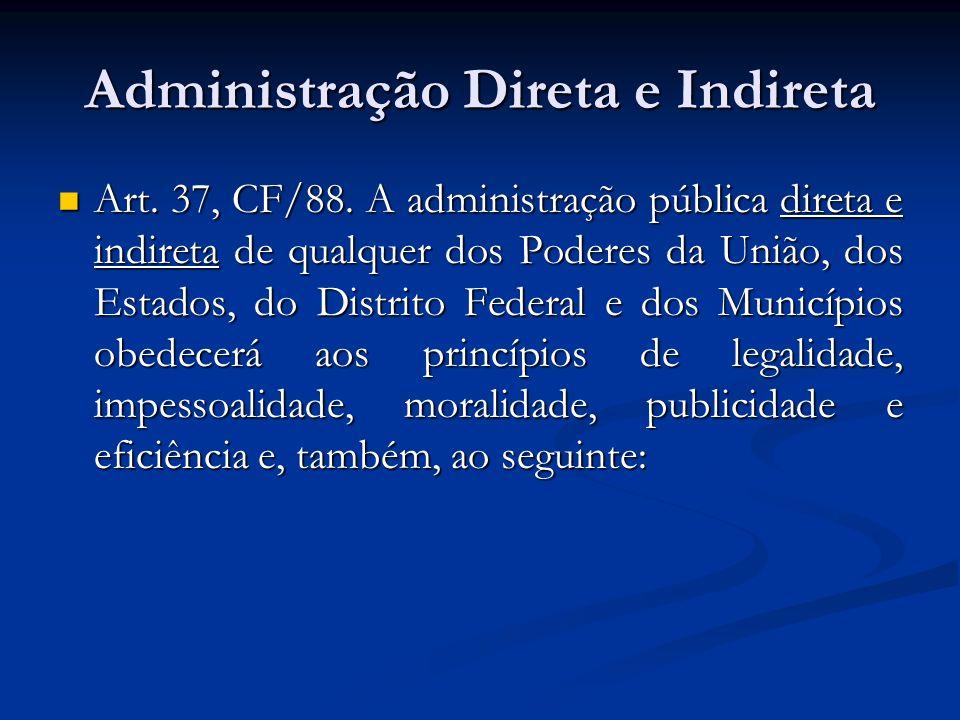 Como se divide a Administração Pública Administração Direta (órgãos) Administração Direta (órgãos) Administração Indireta (entidades) Administração Indireta (entidades) - autarquia - fundação pública - empresa pública - sociedade de economia mista - associação pública