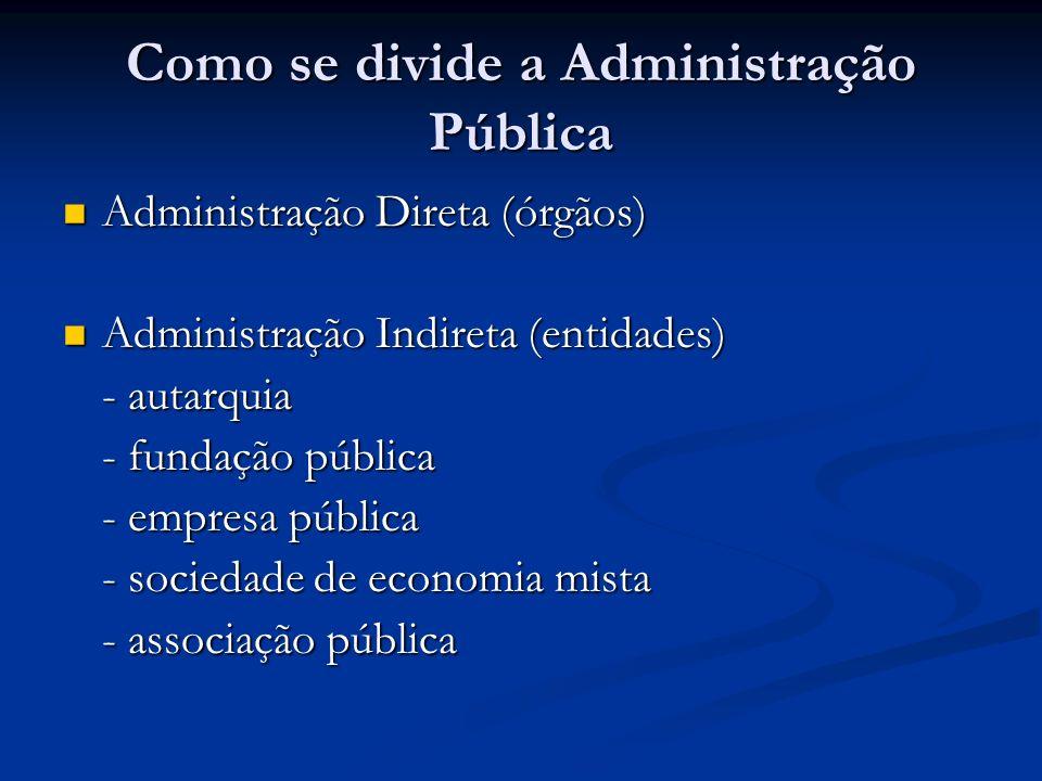 Como se divide a Administração Pública Administração Direta (órgãos) Administração Direta (órgãos) Administração Indireta (entidades) Administração In