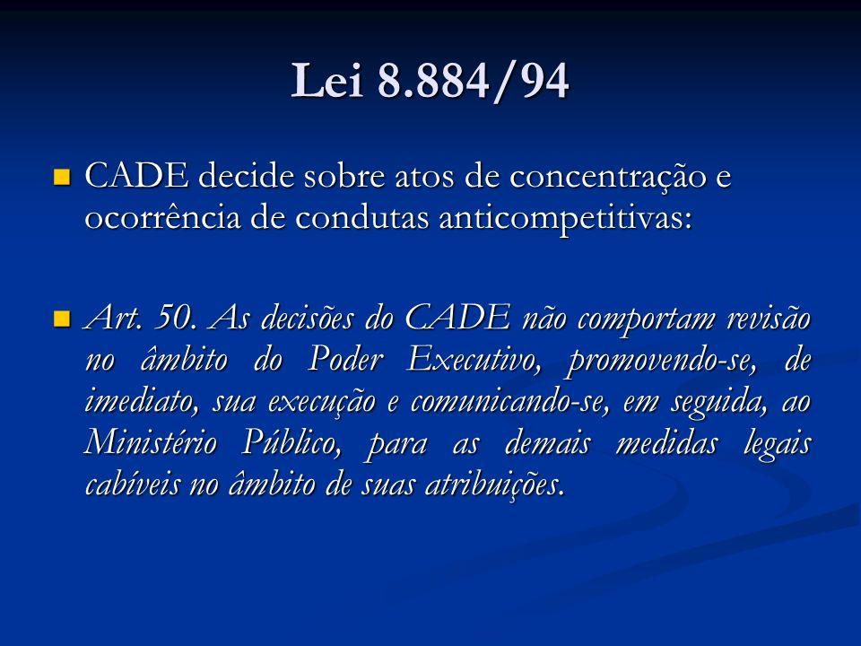 Lei 8.884/94 CADE decide sobre atos de concentração e ocorrência de condutas anticompetitivas: CADE decide sobre atos de concentração e ocorrência de