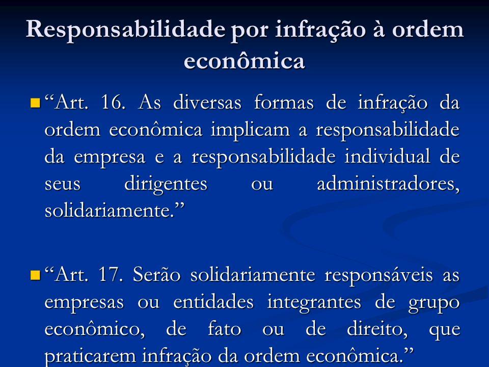 Responsabilidade por infração à ordem econômica Art. 16. As diversas formas de infração da ordem econômica implicam a responsabilidade da empresa e a