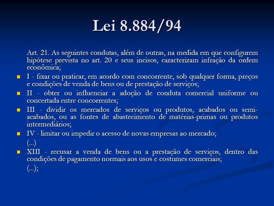 Lei 8.884/94 Art. 21. As seguintes condutas, além de outras, na medida em que configurem hipótese prevista no art. 20 e seus incisos, caracterizam inf