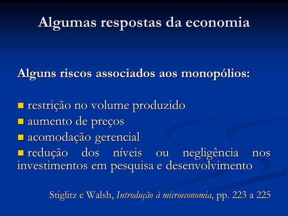 Algumas respostas da economia Alguns riscos associados aos monopólios: restrição no volume produzido restrição no volume produzido aumento de preços a