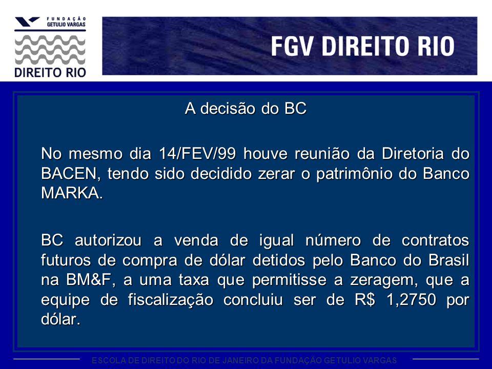 ESCOLA DE DIREITO DO RIO DE JANEIRO DA FUNDAÇÃO GETULIO VARGAS A decisão do BC No mesmo dia 14/FEV/99 houve reunião da Diretoria do BACEN, tendo sido