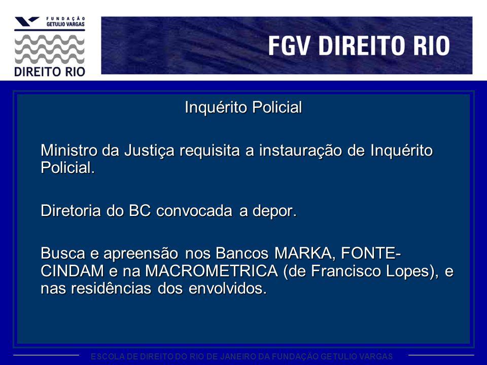 ESCOLA DE DIREITO DO RIO DE JANEIRO DA FUNDAÇÃO GETULIO VARGAS Inquérito Policial Ministro da Justiça requisita a instauração de Inquérito Policial. D