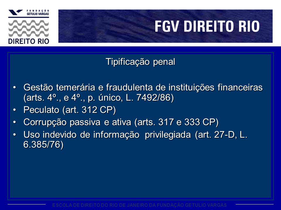 ESCOLA DE DIREITO DO RIO DE JANEIRO DA FUNDAÇÃO GETULIO VARGAS Tipificação penal Gestão temerária e fraudulenta de instituições financeiras (arts. 4º.