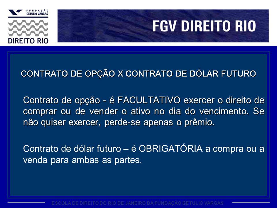 ESCOLA DE DIREITO DO RIO DE JANEIRO DA FUNDAÇÃO GETULIO VARGAS CONTRATO DE OPÇÃO X CONTRATO DE DÓLAR FUTURO Contrato de opção - é FACULTATIVO exercer