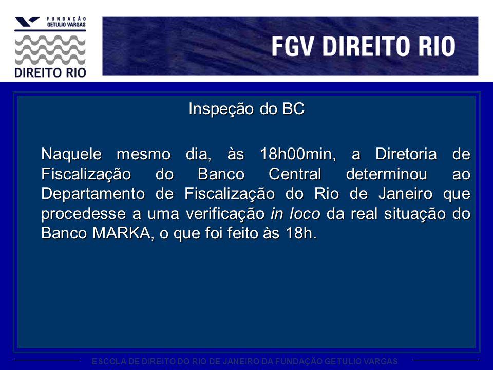 ESCOLA DE DIREITO DO RIO DE JANEIRO DA FUNDAÇÃO GETULIO VARGAS Inspeção do BC Naquele mesmo dia, às 18h00min, a Diretoria de Fiscalização do Banco Cen