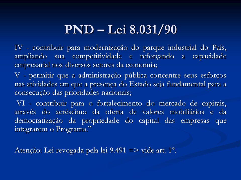 PND – Lei 8.031/90 IV - contribuir para modernização do parque industrial do País, ampliando sua competitividade e reforçando a capacidade empresarial