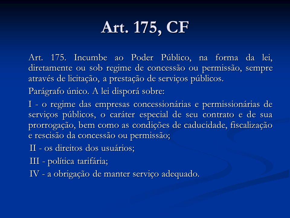 Art. 175, CF Art. 175. Incumbe ao Poder Público, na forma da lei, diretamente ou sob regime de concessão ou permissão, sempre através de licitação, a