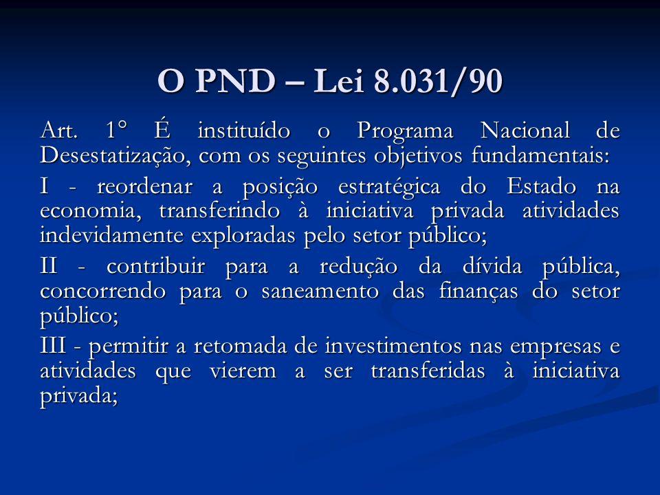 O PND – Lei 8.031/90 Art.
