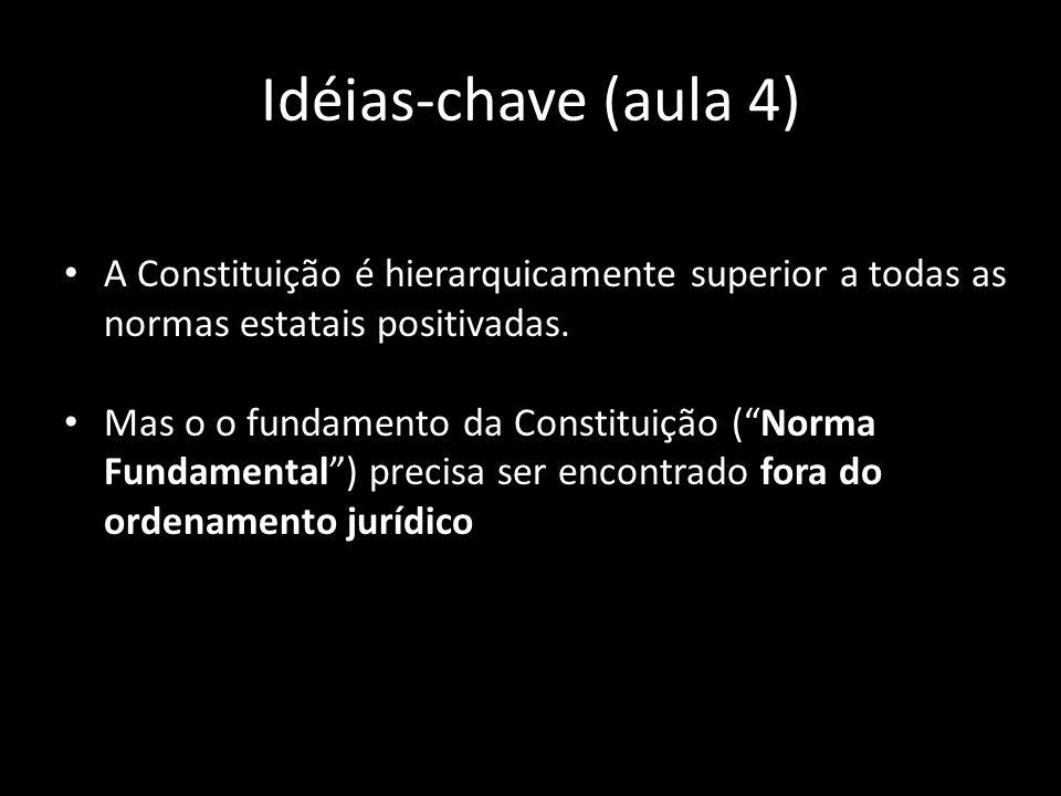 Idéias-chave (aula 4) A Constituição é hierarquicamente superior a todas as normas estatais positivadas. Mas o o fundamento da Constituição (Norma Fun