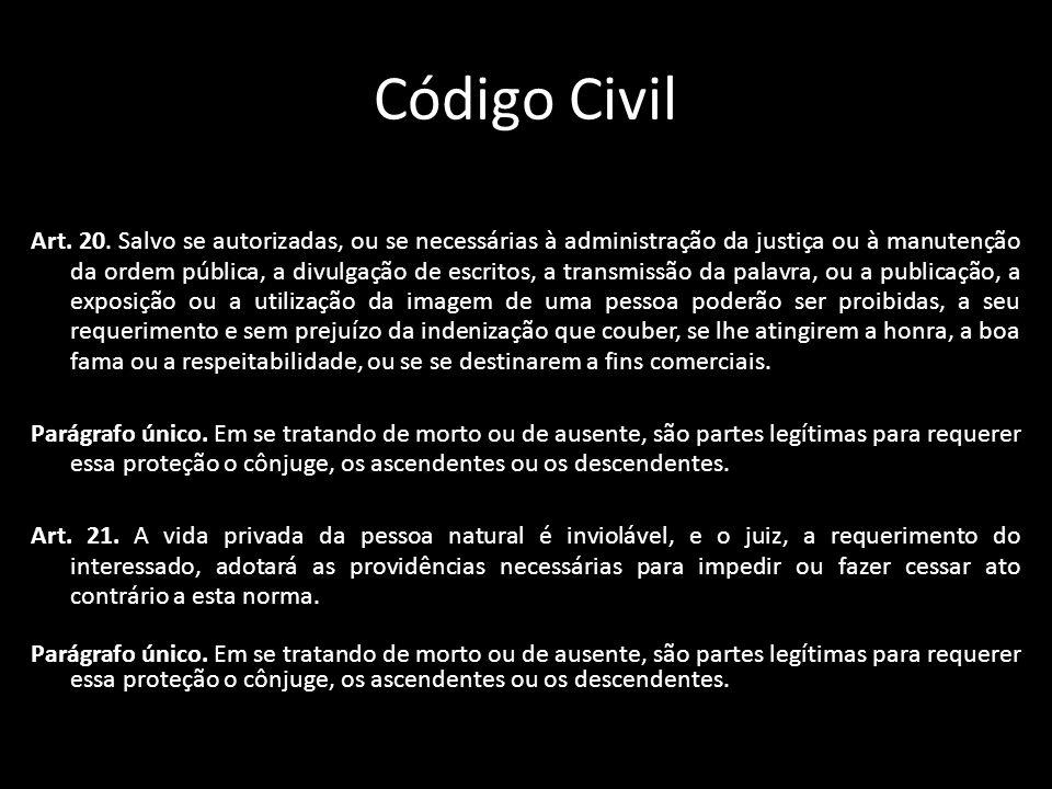 Código Civil Art. 20. Salvo se autorizadas, ou se necessárias à administração da justiça ou à manutenção da ordem pública, a divulgação de escritos, a