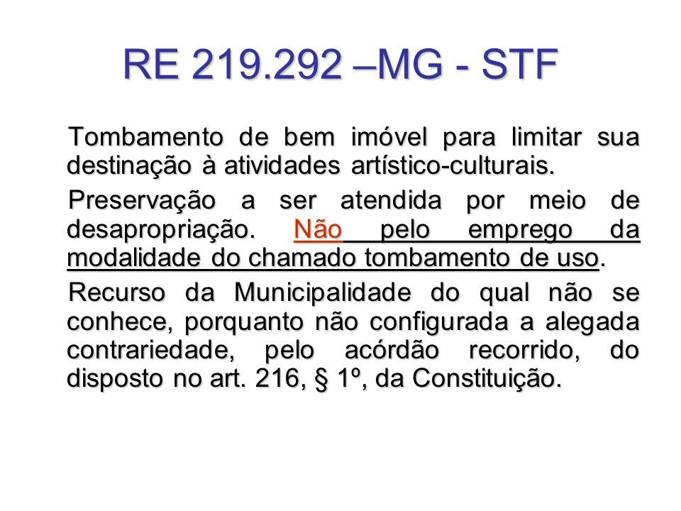 RE 219.292 –MG - STF Tombamento de bem imóvel para limitar sua destinação à atividades artístico-culturais. Preservação a ser atendida por meio de des