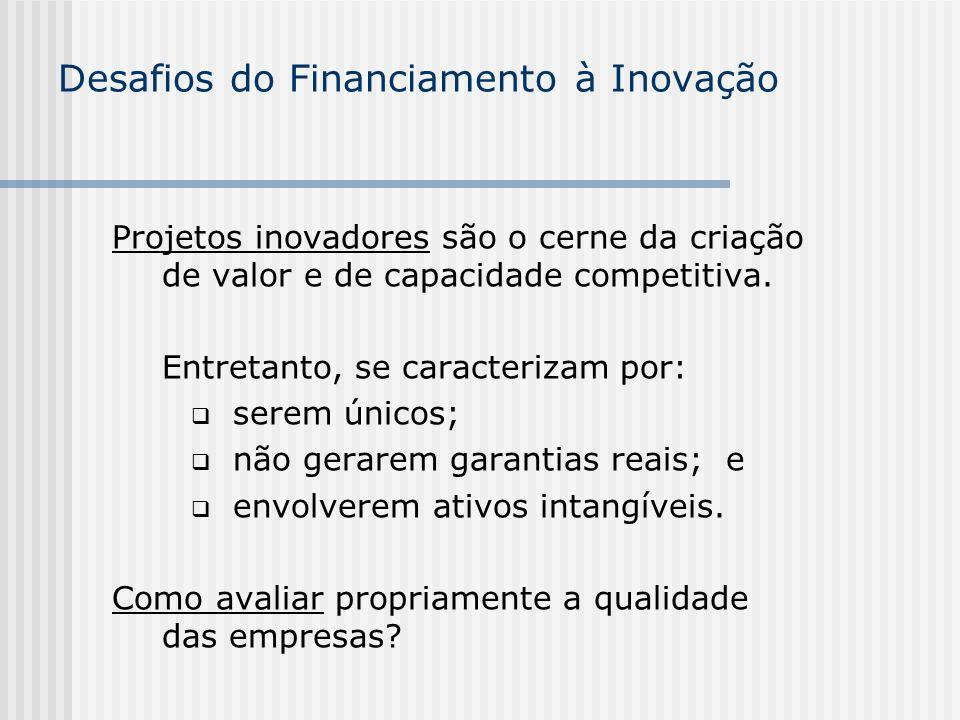 Desafios do Financiamento à Inovação Projetos inovadores são o cerne da criação de valor e de capacidade competitiva. Entretanto, se caracterizam por: