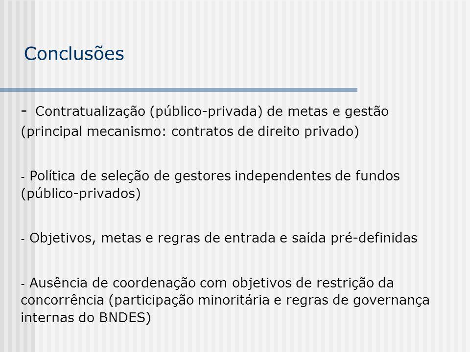 Conclusões - Contratualização (público-privada) de metas e gestão (principal mecanismo: contratos de direito privado) - Política de seleção de gestore