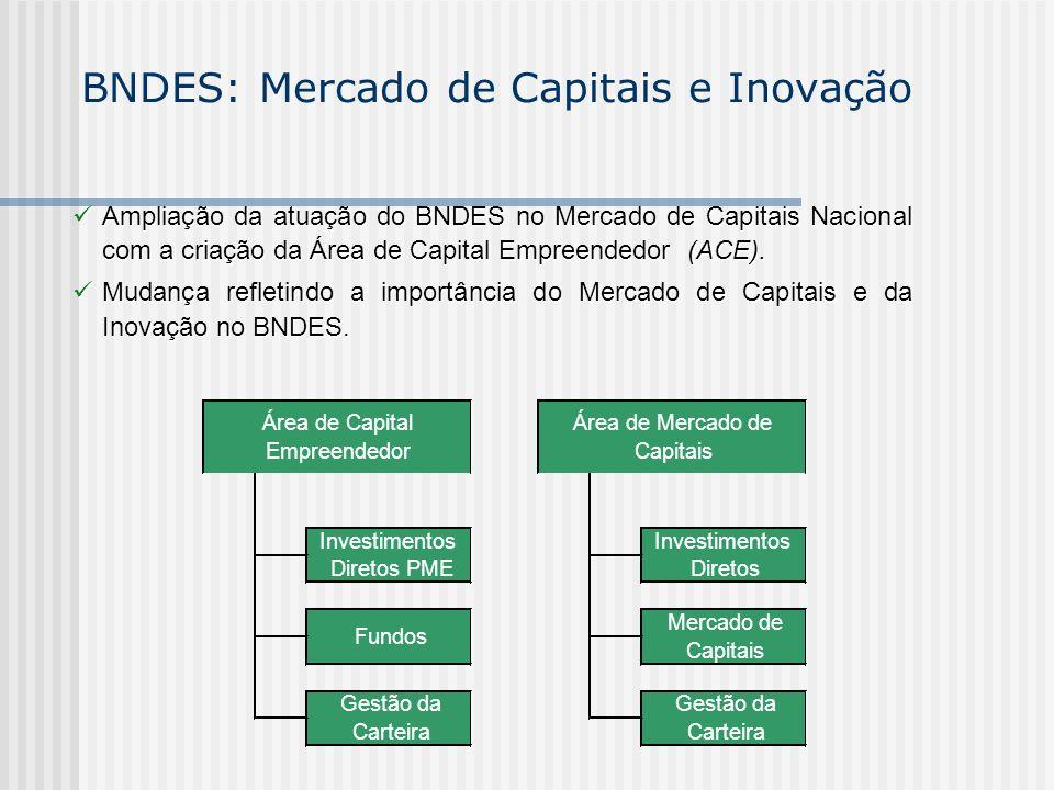 BNDES: Mercado de Capitais e Inovação Ampliação da atuação do BNDES no Mercado de Capitais Nacional com a criação da Área de Capital Empreendedor (ACE