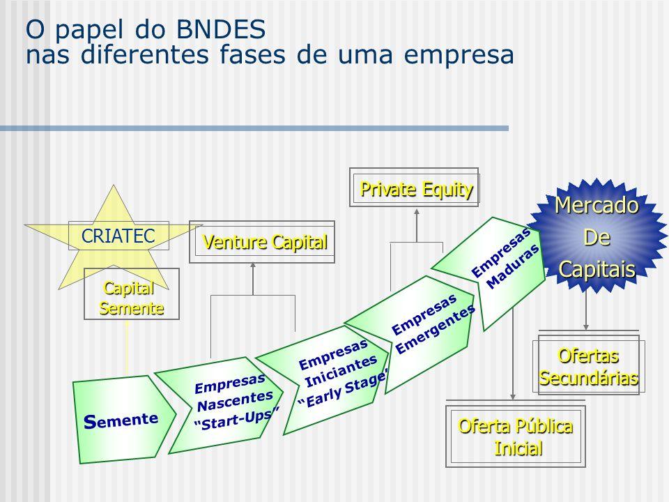OfertasSecundárias Oferta Pública Inicial Inicial O papel do BNDES nas diferentes fases de uma empresa Empresas Nascentes Start-Ups S emente MercadoDe