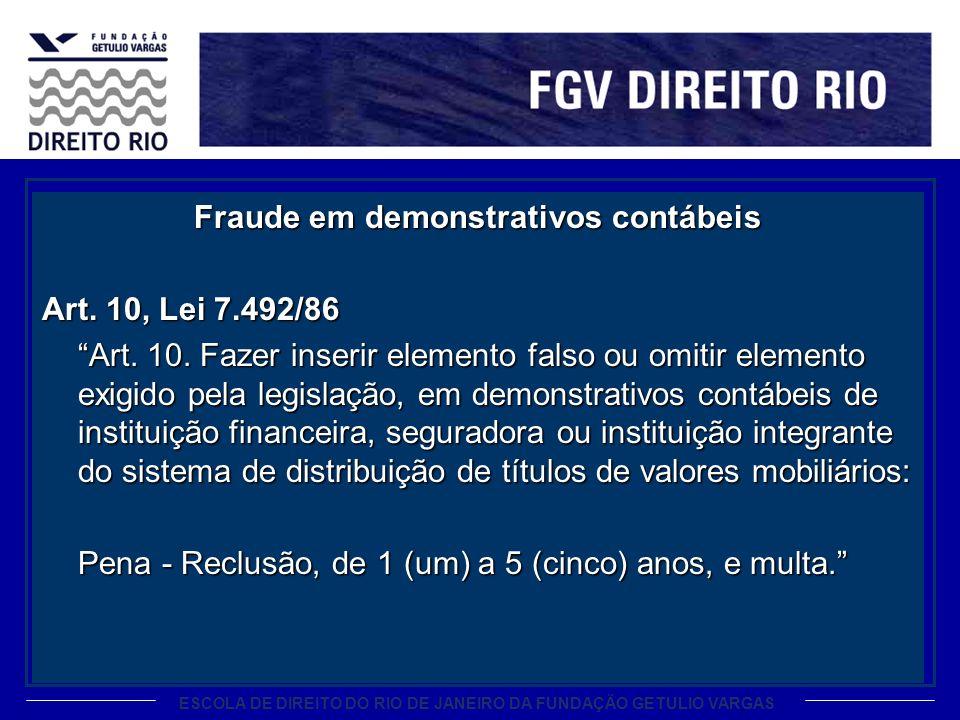 ESCOLA DE DIREITO DO RIO DE JANEIRO DA FUNDAÇÃO GETULIO VARGAS Fraude em demonstrativos contábeis Art. 10, Lei 7.492/86 Art. 10. Fazer inserir element