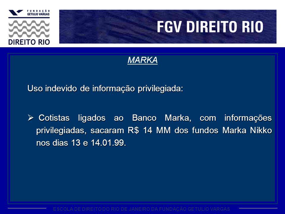 ESCOLA DE DIREITO DO RIO DE JANEIRO DA FUNDAÇÃO GETULIO VARGAS MARKA Uso indevido de informação privilegiada: Cotistas ligados ao Banco Marka, com inf