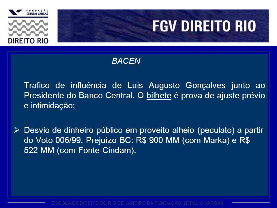 ESCOLA DE DIREITO DO RIO DE JANEIRO DA FUNDAÇÃO GETULIO VARGAS BACEN Trafico de influência de Luis Augusto Gonçalves junto ao Presidente do Banco Cent