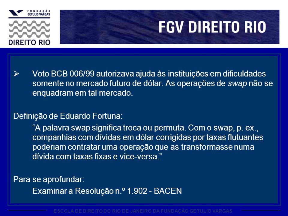 ESCOLA DE DIREITO DO RIO DE JANEIRO DA FUNDAÇÃO GETULIO VARGAS Voto BCB 006/99 autorizava ajuda às instituições em dificuldades somente no mercado fut