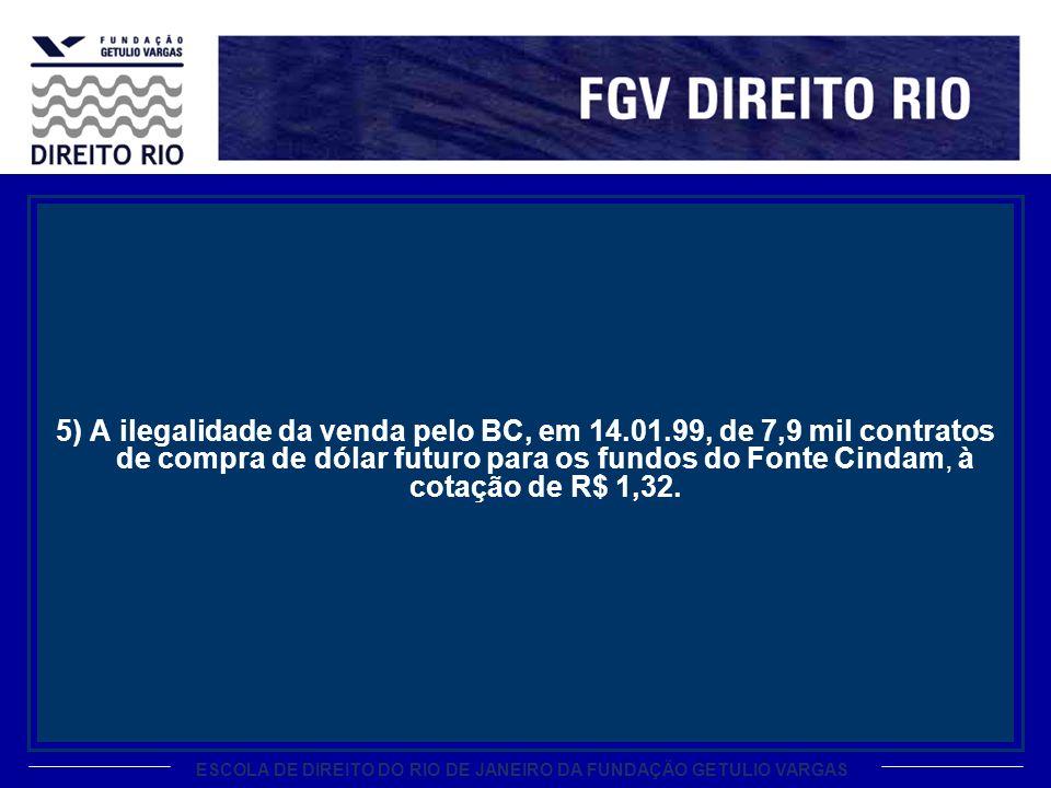 ESCOLA DE DIREITO DO RIO DE JANEIRO DA FUNDAÇÃO GETULIO VARGAS 5) A ilegalidade da venda pelo BC, em 14.01.99, de 7,9 mil contratos de compra de dólar