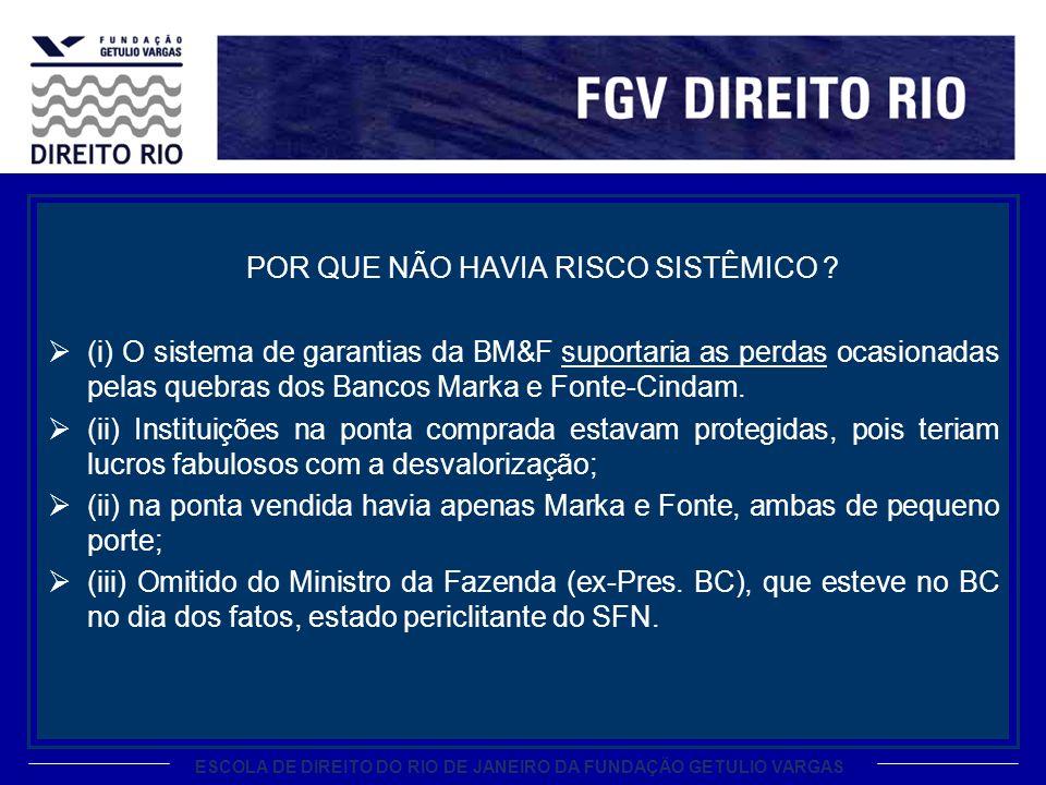 ESCOLA DE DIREITO DO RIO DE JANEIRO DA FUNDAÇÃO GETULIO VARGAS POR QUE NÃO HAVIA RISCO SISTÊMICO ? (i) O sistema de garantias da BM&F suportaria as pe