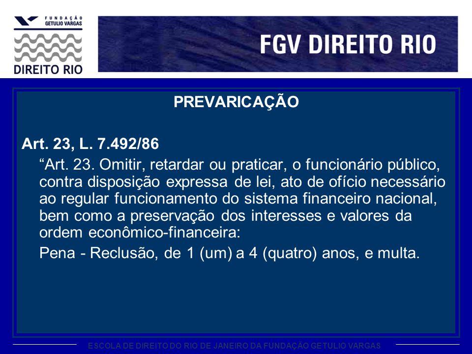 ESCOLA DE DIREITO DO RIO DE JANEIRO DA FUNDAÇÃO GETULIO VARGAS PREVARICAÇÃO Art. 23, L. 7.492/86 Art. 23. Omitir, retardar ou praticar, o funcionário